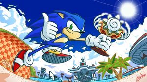 Sonic in Seaside Hill by The-Quill-Warrior