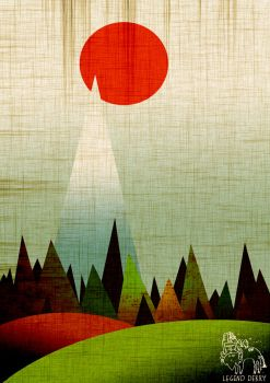 Red sun over woods and mountain. by CupboardDweller