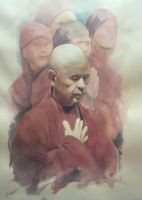Thich Nhat Hanh in color by humblestudent
