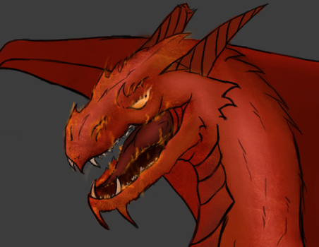Ancient Red Dragon WIP by Patatje36