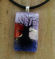 Lavender Sunset Tree Glass by FusedElegance