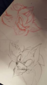 Sonic and Shadow doodle  by Black-flame1826