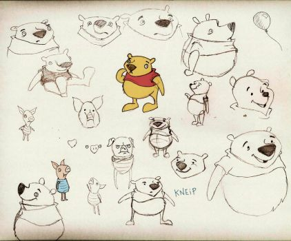Winnie the Pooh Sketches by dannykneip