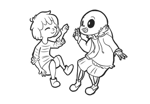 Frisk and Sans by Owsouu