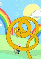 Adventure Time! Looong Jake with Finn~ by Naya-2D