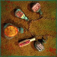 Poison Bottles Charm Necklace by asunder