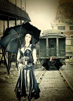 Steampunk Umbrella Antiqued Edit1 by wroquephotography