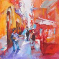 LITTLE STREET 2in the painting by renatadomagalska