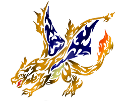 Tribal Flaming Charizard by DansuDragon