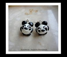 panda bears earrings by MrsEfi