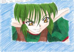 Kisshu's evil smile in color by Iloveyoukisshu