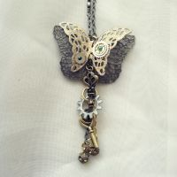 Steampunk Butterfly Necklace by NBetween
