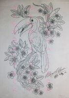 Toucan and Plumerias Tattoo Design by Maszeattack