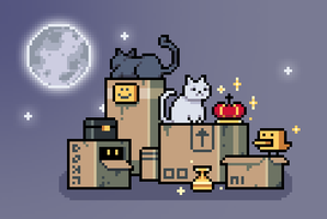 Gold, cats and a set of boxes (May 2015) by emimonserrate