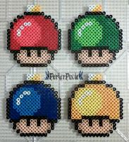 Christmas Bulb Mushrooms by PerlerPixie