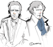 Sherlock and House doodle. by superfizz