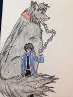 A man's best friend is a giant wolf by TroubledC0splayer