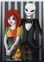 Jack Skellington and Sally: Wishing you... by Grim-Raider