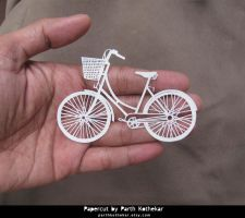 Miniature Papercut - bicycle by ParthKothekar