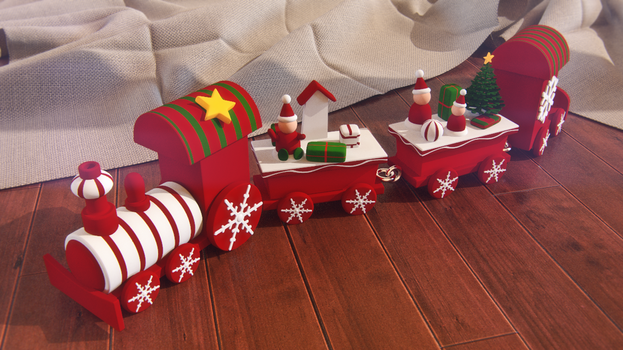 3d wooden christmas train by pixelbudah