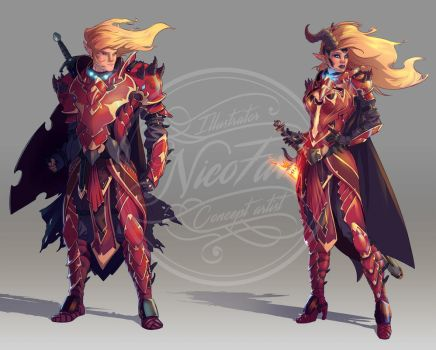 Character design Dragon armor by NicoFari