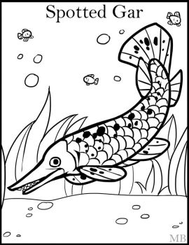 Coloring pages by magicbunnyart on deviantart for Alligator gar coloring page