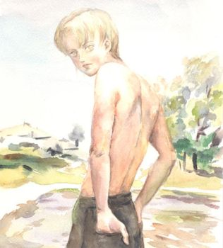 Young Remus topless by lillithium