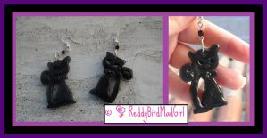 Black Cat Set_Earrings by ReddyBirdMadGirl