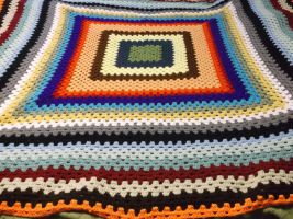 Rainbow granny square blanket. by ShadowOrder7