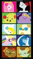 Ladies of Adventure Time :: 10 Sticker Pk by agentadvocate
