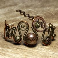 Etched steampunk Bracelet by CatherinetteRings