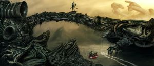 Machinarium in giger world by Dejano23