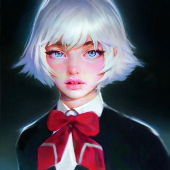 Girl with a bow tie by Nad4r