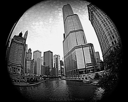 Trump Tower Overlooking Chicago River by TaylorJewelRyan