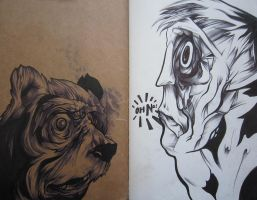 Cover Drawing .Bear Attack. by lickingstitches