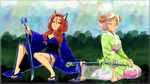 Tabitha and Lavender's Kimono Girl Wallpaper by LordNobleheart