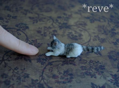 Tabby and White Cat Sculpture Handmade Miniature by ReveMiniatures
