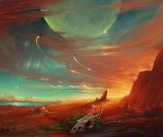 moon over red land by KalaNemi