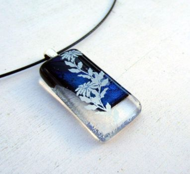 Floating Flowers Fused Glass Pendant by FusedElegance