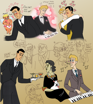 Terrible Jazz-Age Homoerotic Cheese Sketchdump by LadyKeane