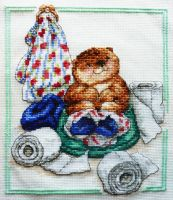 Oliver Otter cross stitch by black-lupin