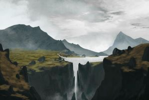 Mountains Waterfall by Anthony-Vanko