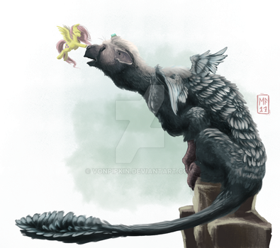 Commission: Fluttershy and Trico by vonPipkin