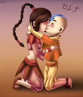 Commission - Aang and Ty-Lee by AngelShizuka