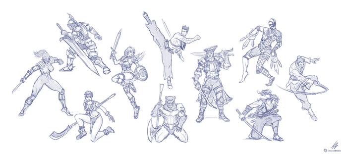 SoulBlade - Cast Sketches by CrescentDebris