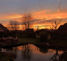 My garden with pool, at sunset in spring by rollarius55