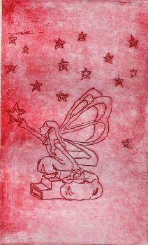 Fairy of Night - Lineart Etching (Red Ver.) by LitTechGirl