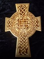 Pyrography Celtic cross by WOODEWYTCH