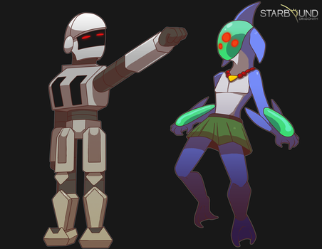 Starbound - Aquatic and Robot Races by Dragonith