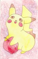 Pikachu and apple by agalmatophiliac